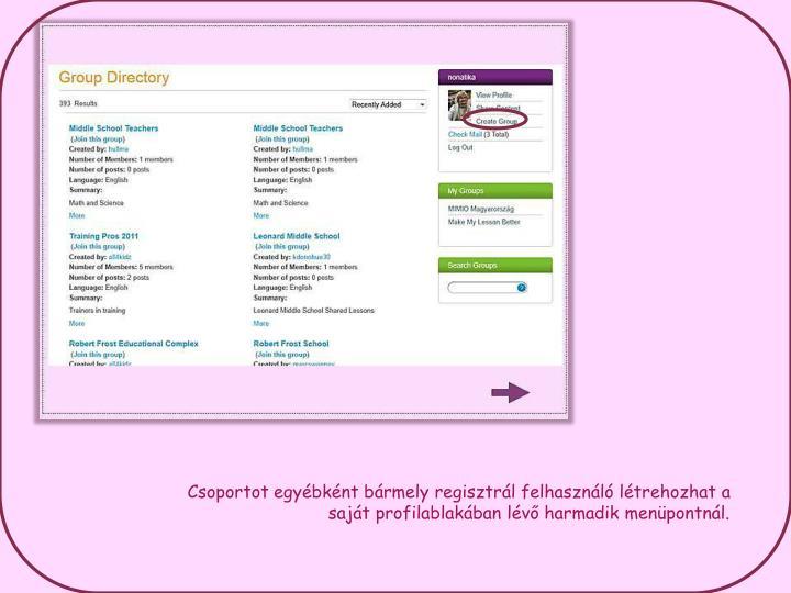 Csoportot egyébként bármely regisztrál felhasználó létrehozhat a