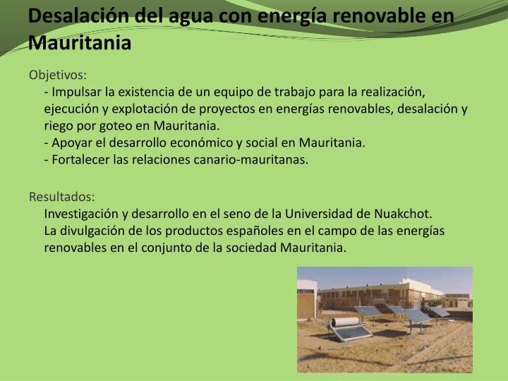 Desalación del agua con energía renovable en Mauritania