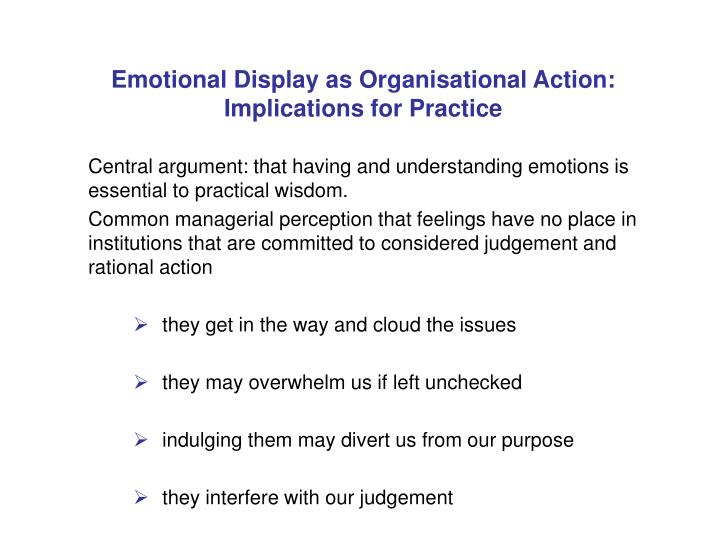 Emotional display as organisational action implications for practice1