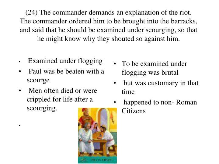 Examined under flogging