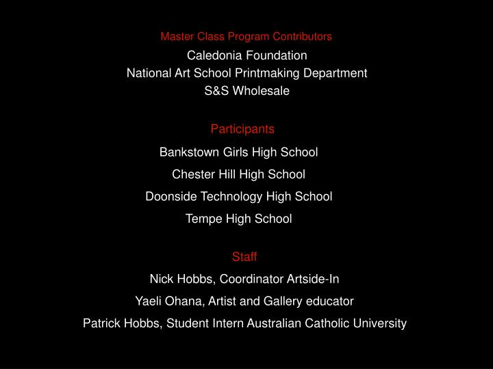 Master Class Program Contributors
