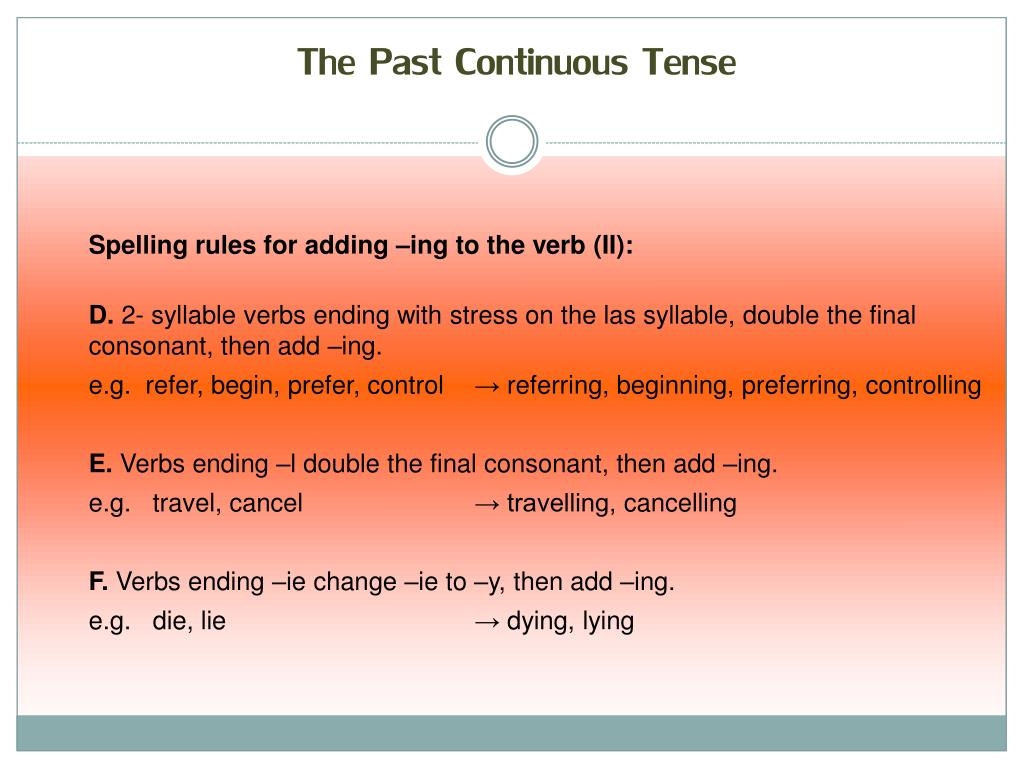 PPT - The past continuous Tense PowerPoint Presentation - ID