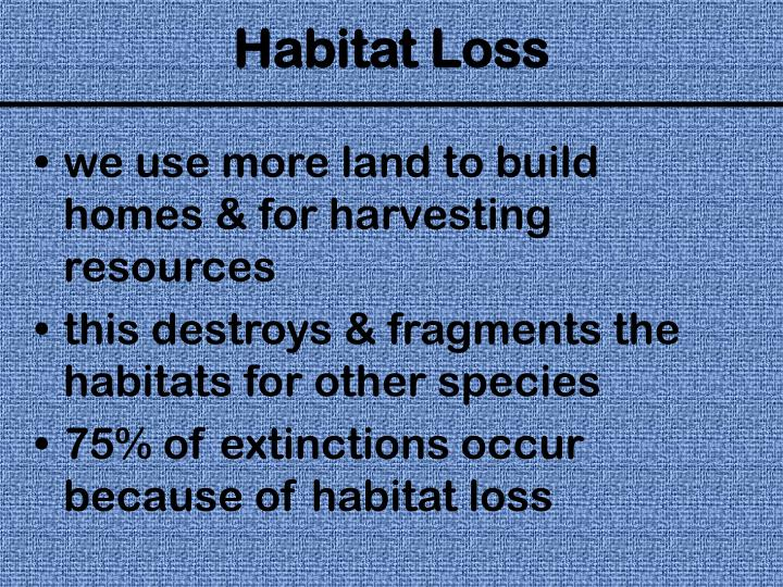 we use more land to build homes & for harvesting resources