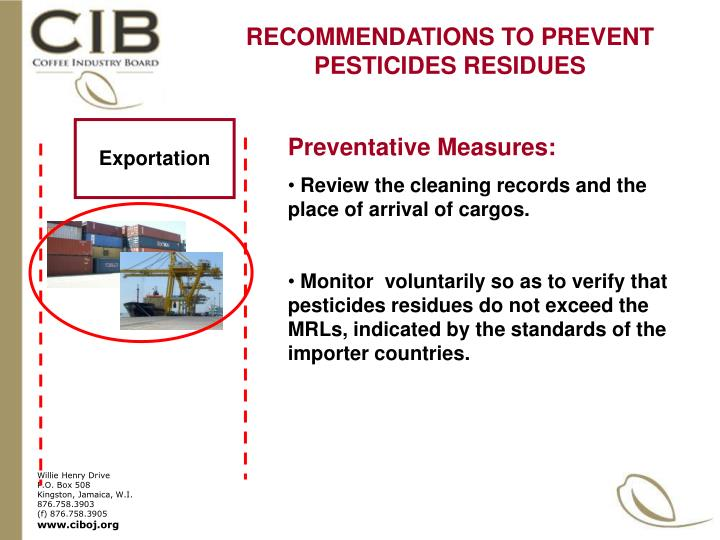 RECOMMENDATIONS TO PREVENT PESTICIDES RESIDUES