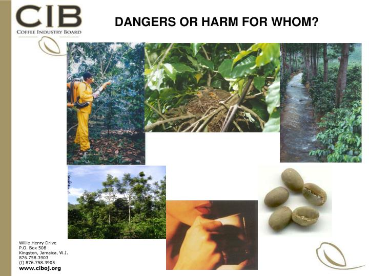 DANGERS OR HARM FOR WHOM?