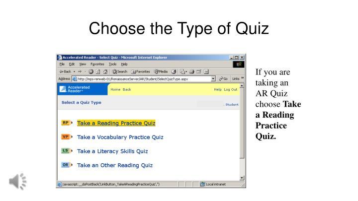 Choose the Type of Quiz