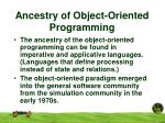 ancestry of object oriented programming