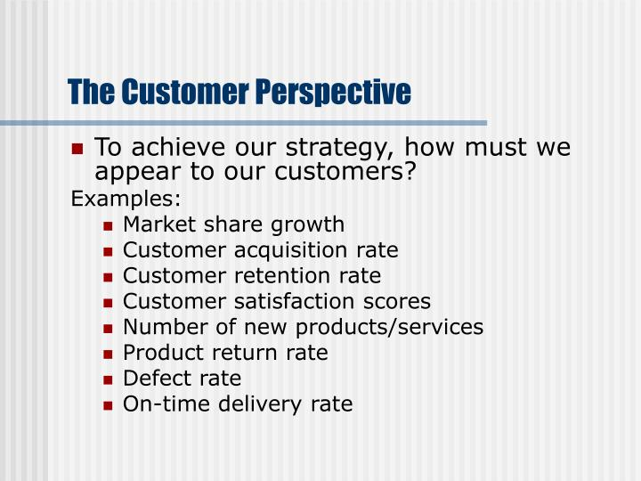 The Customer Perspective