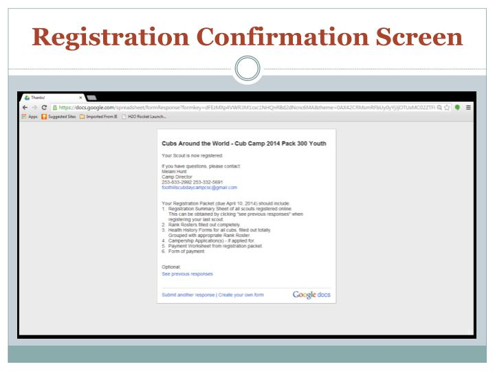 Registration Confirmation Screen