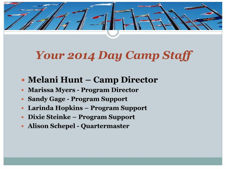 Your 2014 day camp staff