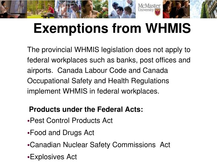 Exemptions from WHMIS