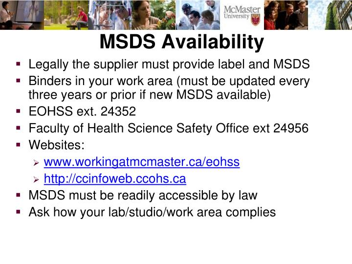 MSDS Availability