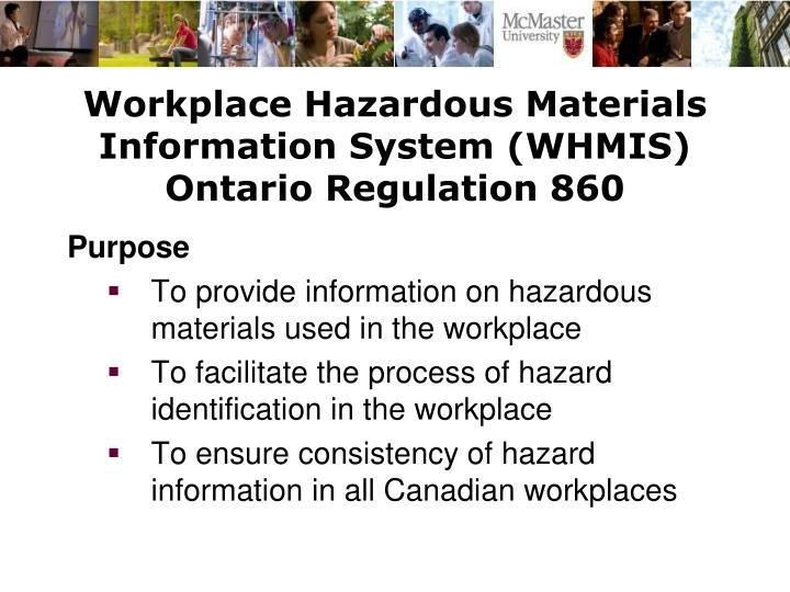 Workplace hazardous materials information system whmis ontario regulation 860