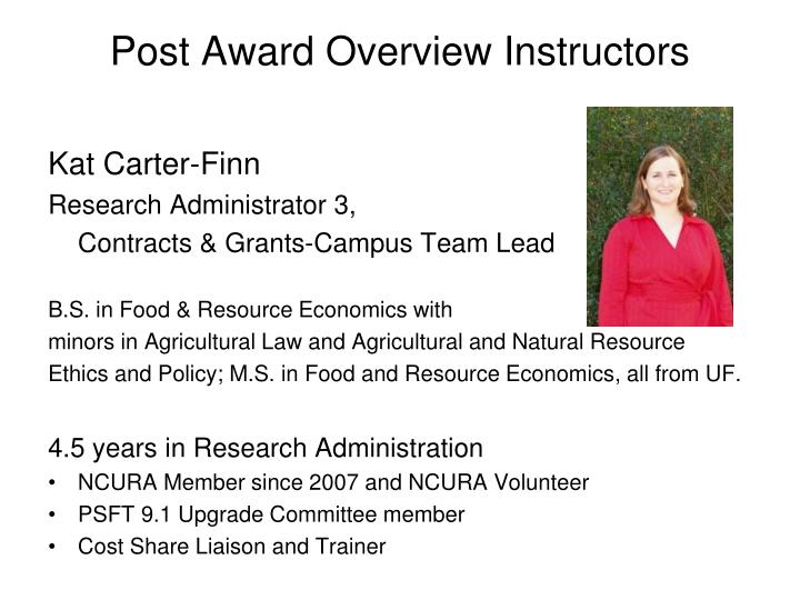 Post award overview instructors