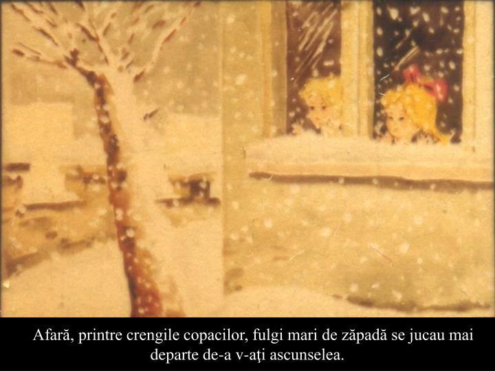 Afară, printre crengile copacilor, fulgi mari de zăpadă se jucau mai departe de-a v-aţi ascunselea.