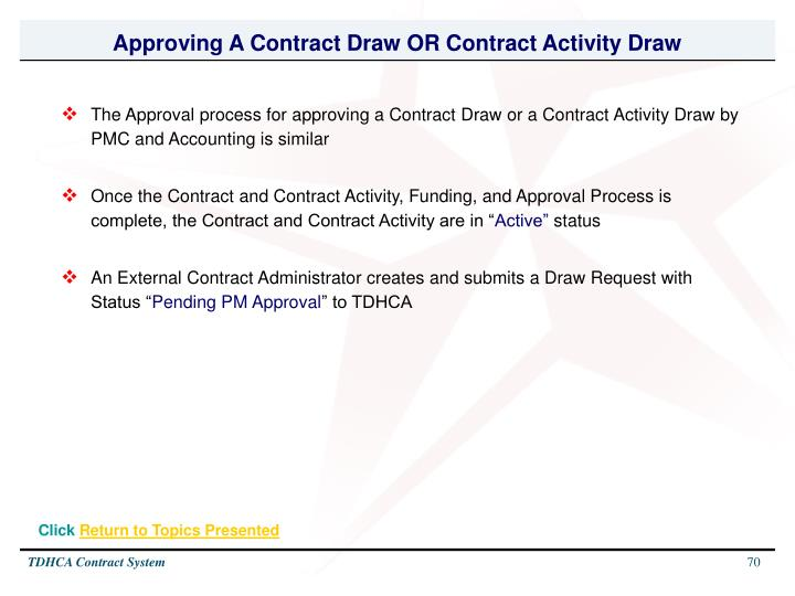 Approving A Contract Draw OR Contract Activity Draw