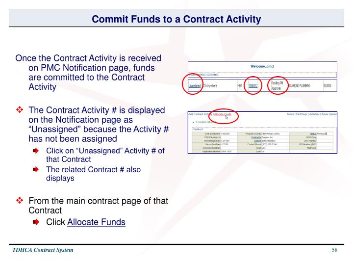 Commit Funds to a Contract Activity