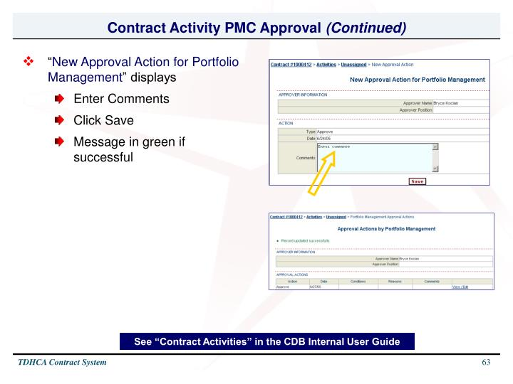 Contract Activity PMC Approval