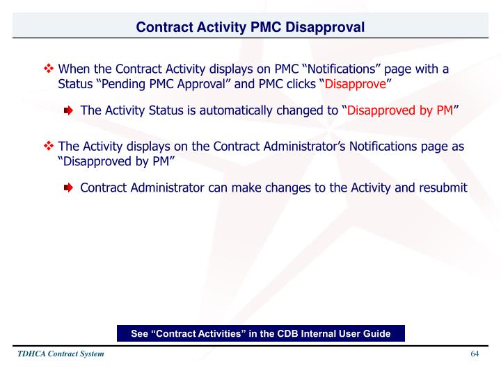 Contract Activity PMC Disapproval