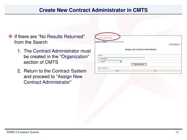 Create New Contract Administrator in CMTS