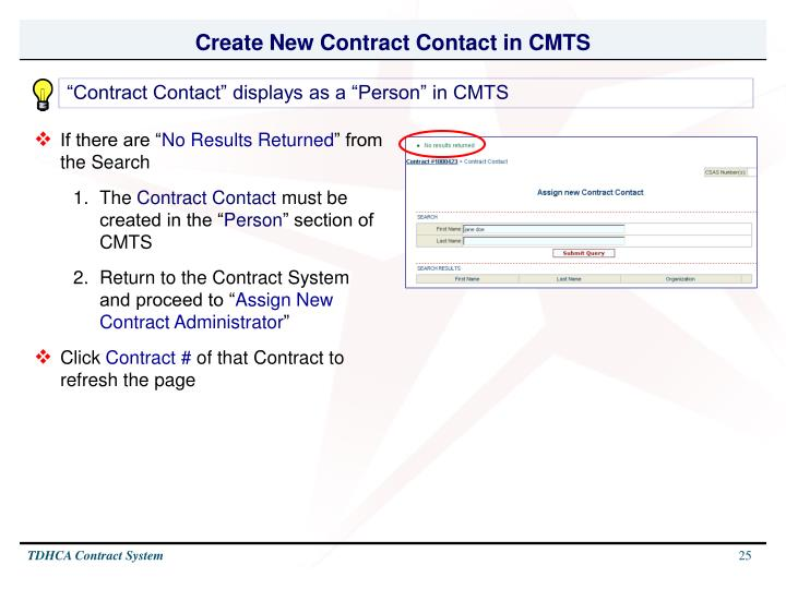 Create New Contract Contact in CMTS