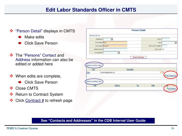 Edit Labor Standards Officer in CMTS