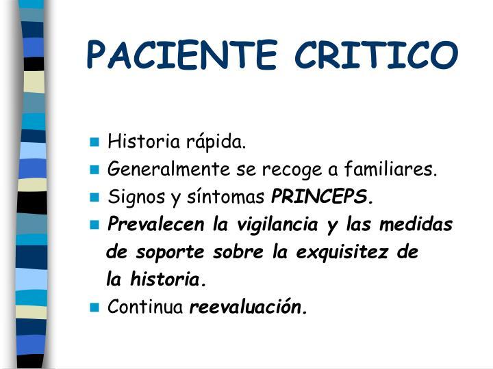 PACIENTE CRITICO