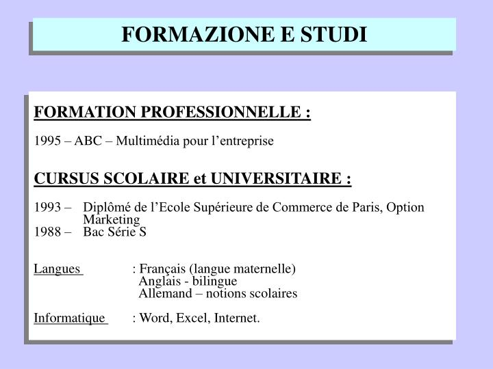 FORMATION PROFESSIONNELLE :