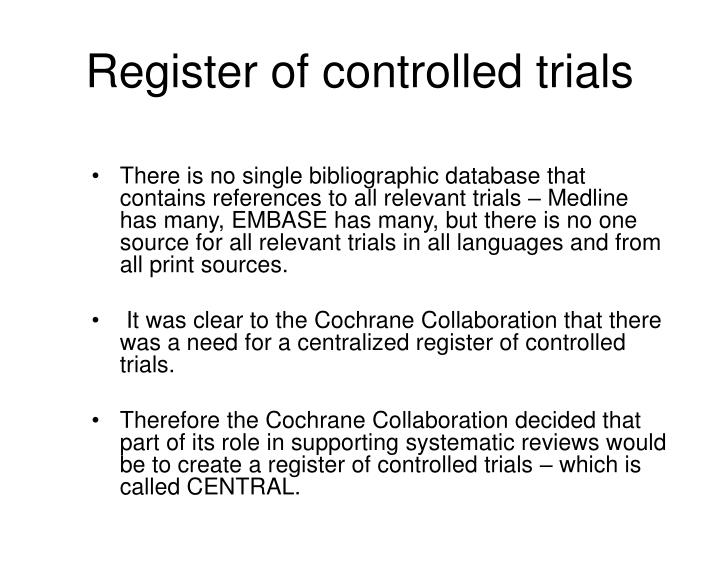 Register of controlled trials