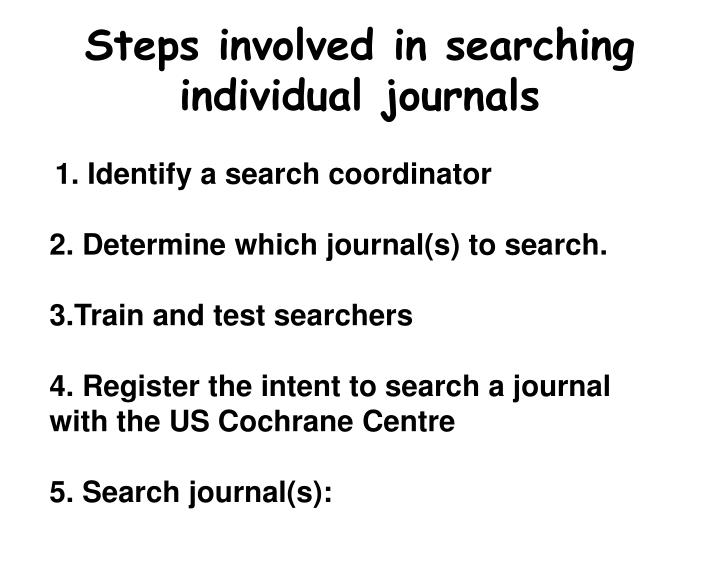 Steps involved in searching individual journals