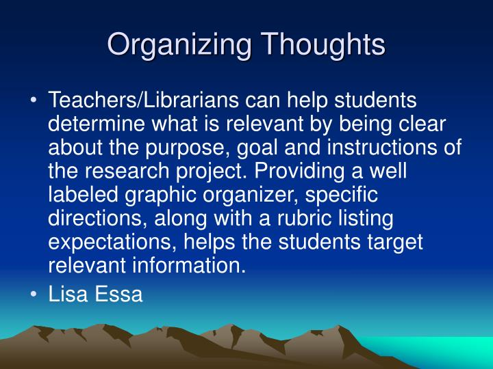 Organizing Thoughts