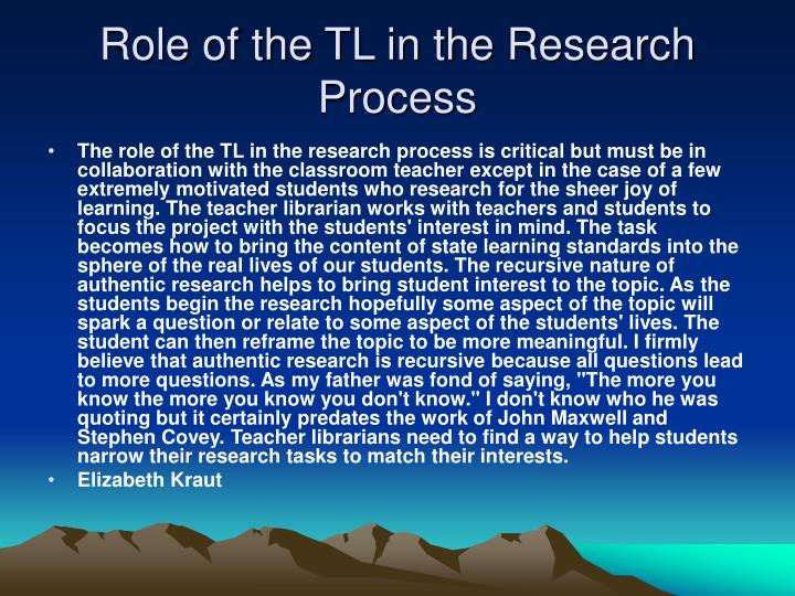 Role of the TL in the Research Process
