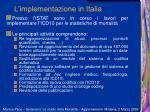 l implementazione in italia