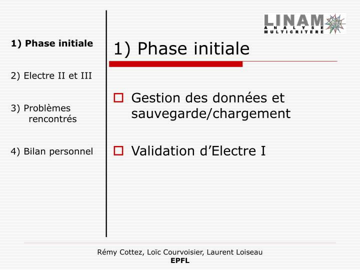 1) Phase initiale