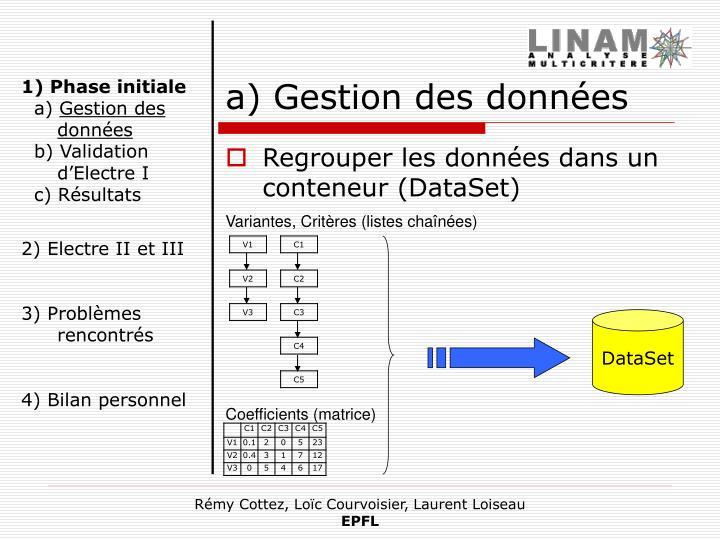a) Gestion des données