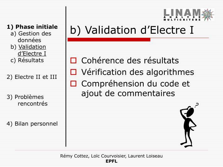 b) Validation d'Electre I