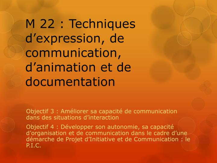 m 22 techniques d expression de communication d animation et de documentation n.