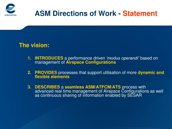 Asm directions of work statement