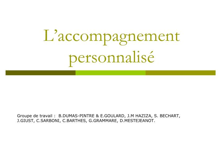 l accompagnement personnalis n.