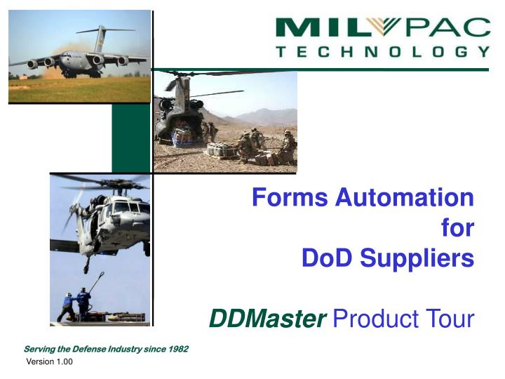 Forms automation for dod suppliers ddmaster product tour