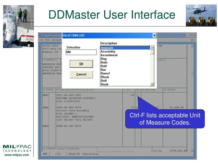 DDMaster User Interface