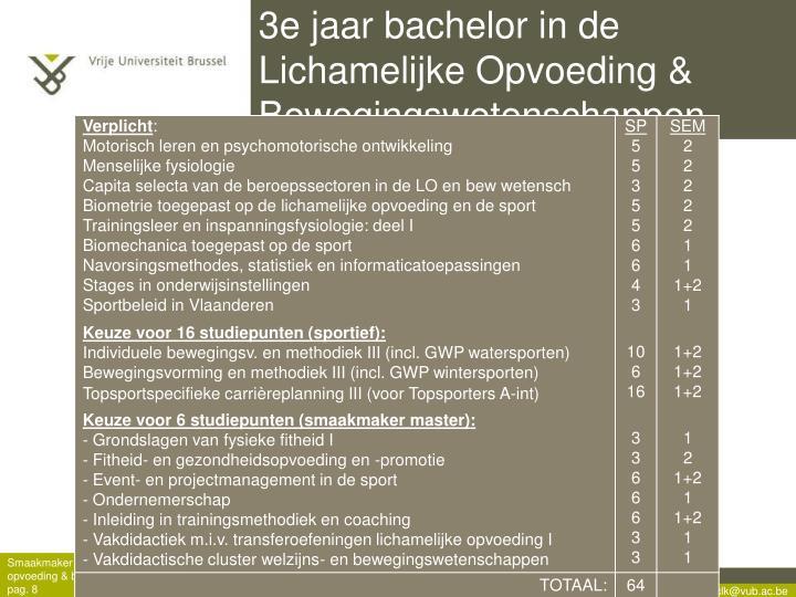 3e jaar bachelor in de