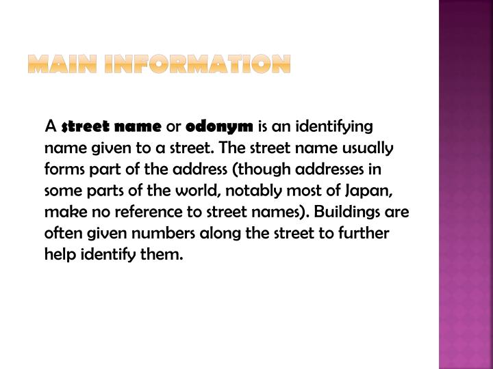 Main information