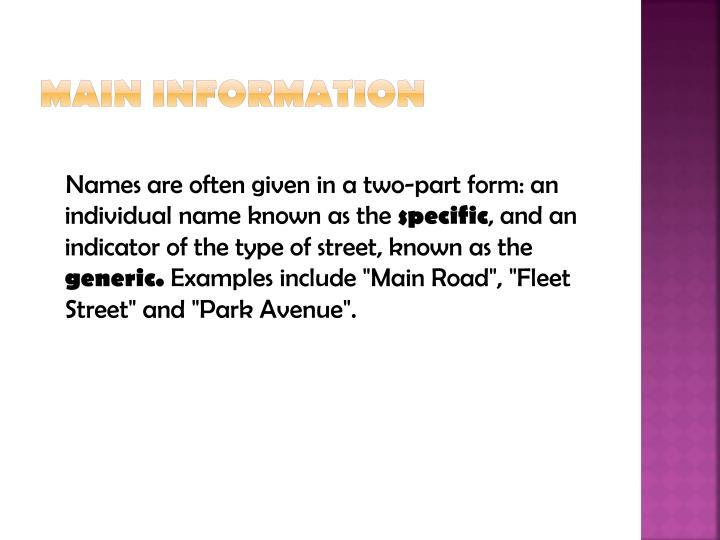 Main information1