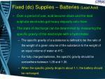 fixed dc supplies batteries lead acid