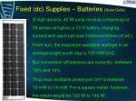 fixed dc supplies batteries solar cells