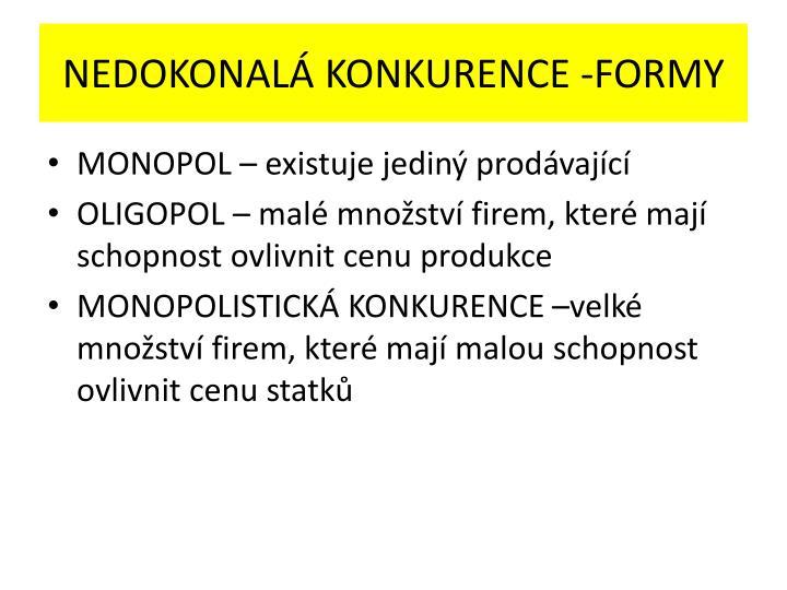 NEDOKONALÁ KONKURENCE -FORMY