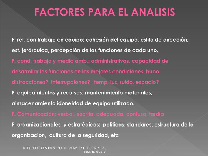 FACTORES PARA EL ANALISIS
