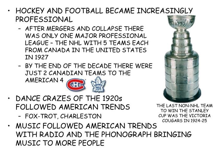 HOCKEY AND FOOTBALL BECAME INCREASINGLY PROFESSIONAL