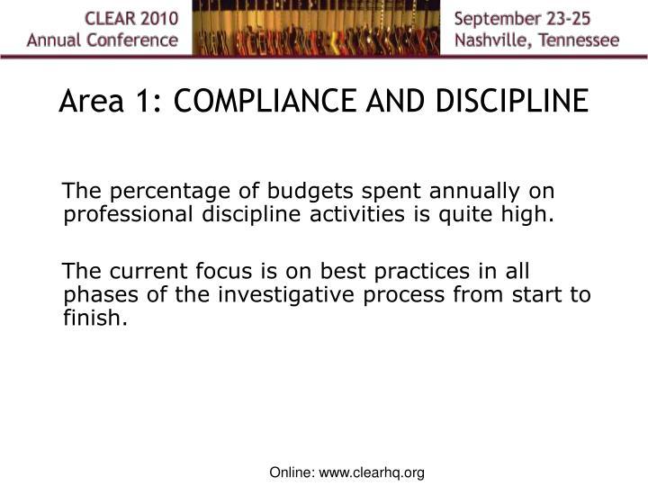 Area 1: COMPLIANCE AND DISCIPLINE